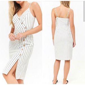 FOREVER 21 | White Striped Asymmetrical Cami Dress